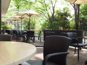 大学内のカフェでおしゃべりを楽しみます。