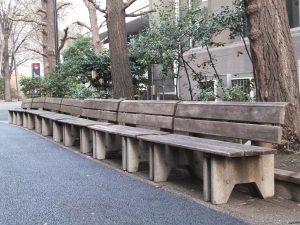 キャンパス内で一番古いベンチ